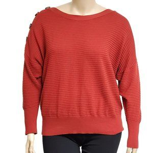 Laundry Buttoned Shoulder Ribbed Sweater